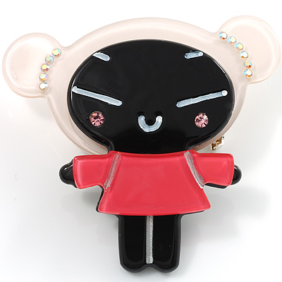 Black Plastic Japanese Girl Brooch
