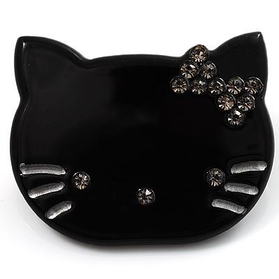 Little Kitty Plastic Brooch (Black) - main view