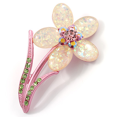 Sparkling Daisy Flower Brooch - main view
