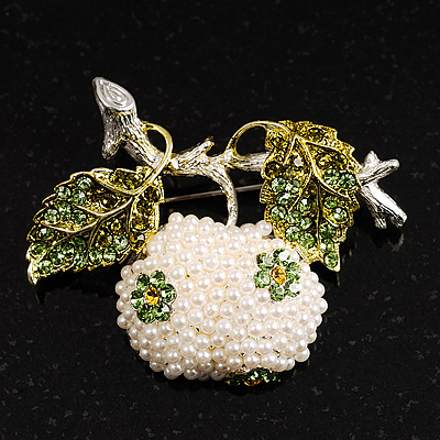White Pearl Apple Crystal Brooch