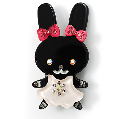Pretty Black Bunny Girl Plastic Brooch