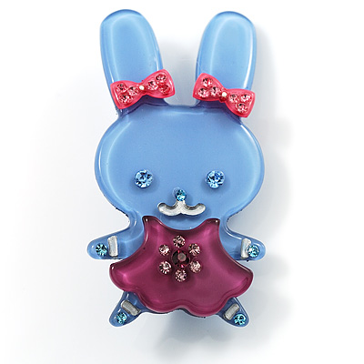 Pretty Blue Bunny Girl Plastic Brooch