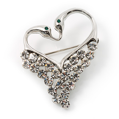 Swan Heart Crystal Brooch (Clear Crystal) - main view