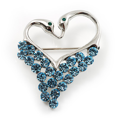 Swan Heart Crystal Brooch (Sky Blue) - main view