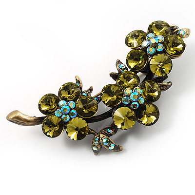 Vintage Olive Green Floral Brooch (Antique Gold) - main view