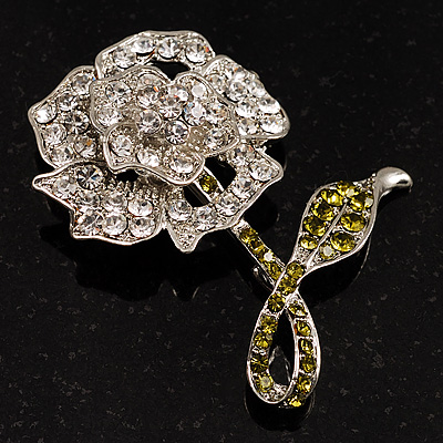 Clear Crystal Rose Brooch