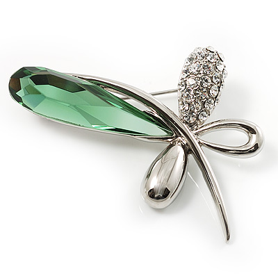 Contemporary Crystal Butterfly Brooch (Green&amp;Clear)