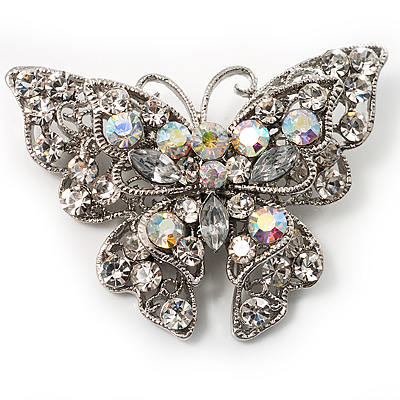 Clear Crystal Filigree Butterfly Brooch - main view