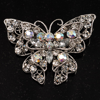 Clear Crystal Filigree Butterfly Brooch