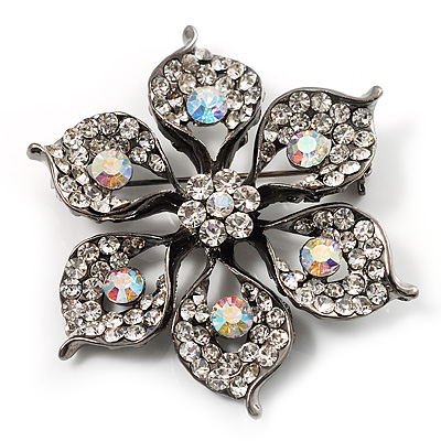 Sparkling Clear Crystal Flower Brooch (Black Tone) - main view
