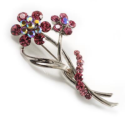 Pretty Diamante Pink Daisy Brooch
