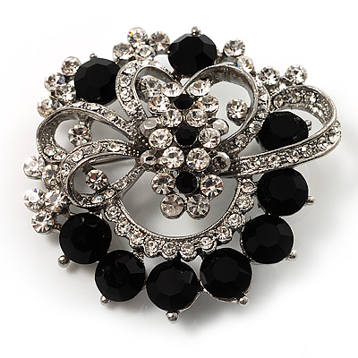Striking Diamante Corsage Brooch (Black&Clear)