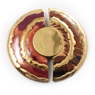 ''Split Disk'' Ethnic Brooch (Gold&Red)