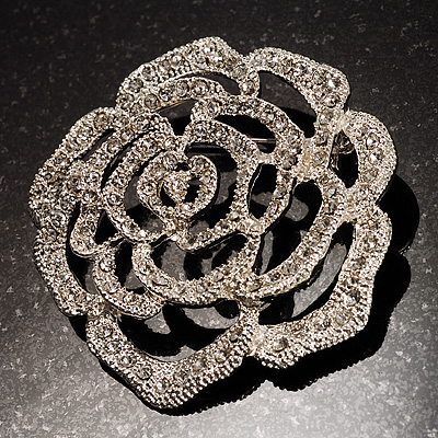 Oversized Clear Crystal Rose Brooch - main view