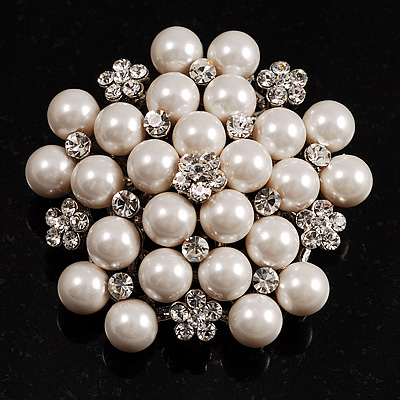 Snow White Simulated Glass Pearl Corsage Brooch