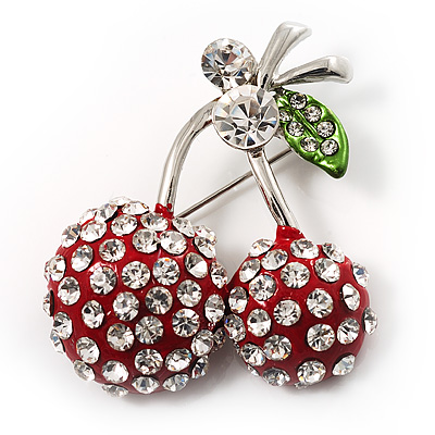 Clear Crystal Red Double Cherry Fashion Brooch - main view