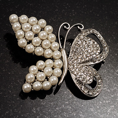 Unique Faux Pearl Crystal Butterfly Brooch