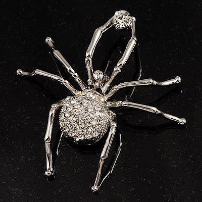 Giant Clear Crystal Spider Brooch - main view