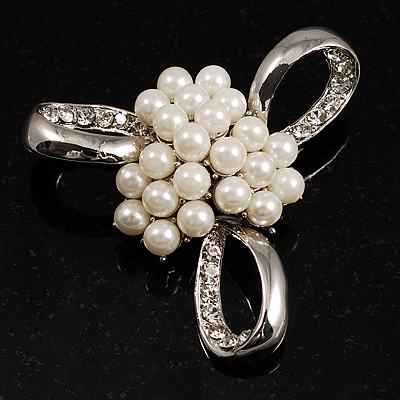 Fancy Simulated Pearl Bow Brooch - main view