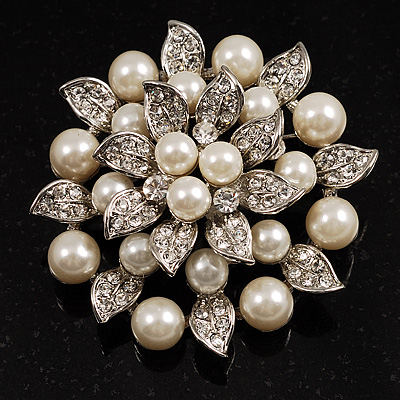 Bridal Faux Pearl Floral Brooch (Ivory)