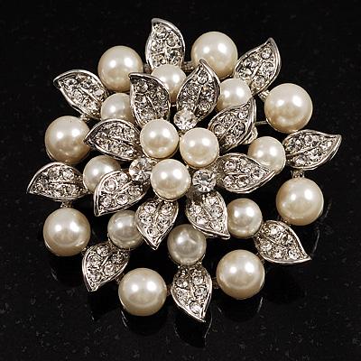 Bridal Faux Pearl Floral Brooch Ivory B00351
