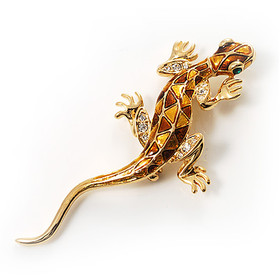 Gold Crystal Enamel Lizard Brooch