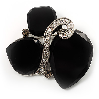 Black Glass Art Deco Fashion Brooch (Black Tone)