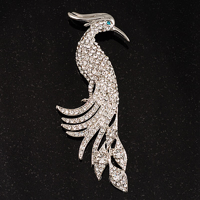 Oversized Clear Crystal Peacock Brooch