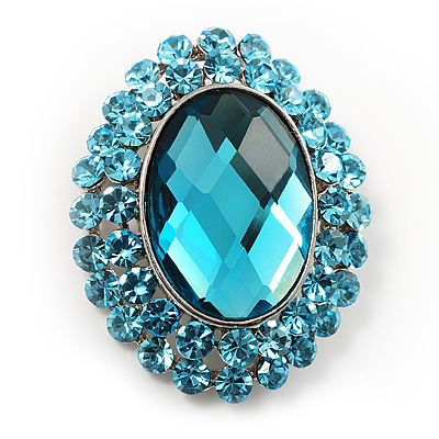 Turquoise Crystal Button Shaped Fashion Brooch