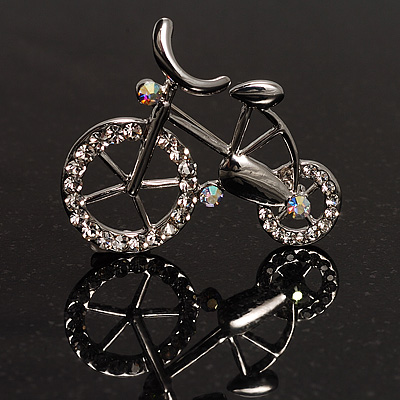 Rhodium Plated Crystal Bicycle Brooch - main view
