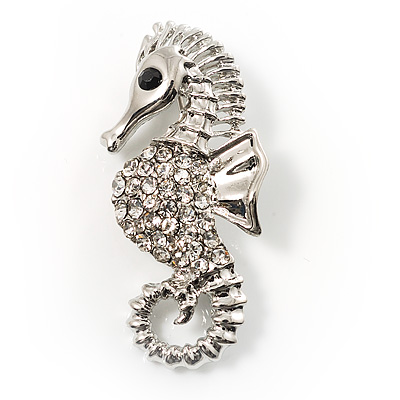 Crystal Seahorse Fashion Brooch - main view