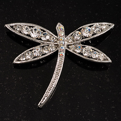 Classic Swarovski Crystal Dragonfly Brooch (Silver Tone)