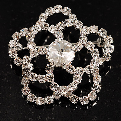 Small Fancy Clear Crystal Rose Brooch