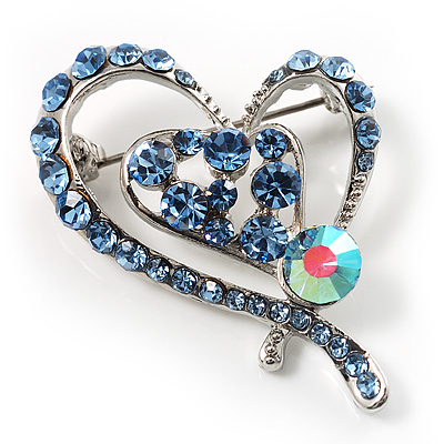 Blue Crystal Heart Brooch - main view