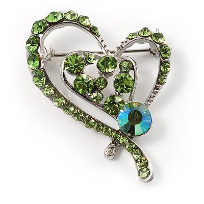 Green Crystal Heart Brooch - main view