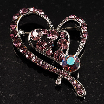 Lilac Crystal Heart Brooch - main view