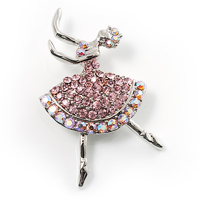 Pink Crystal Ballerina Brooch - main view