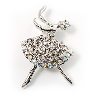 Clear Crystal Ballerina Brooch