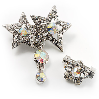 Pair of Stars and Flower Crystal Set Of 2 Brooches - main view