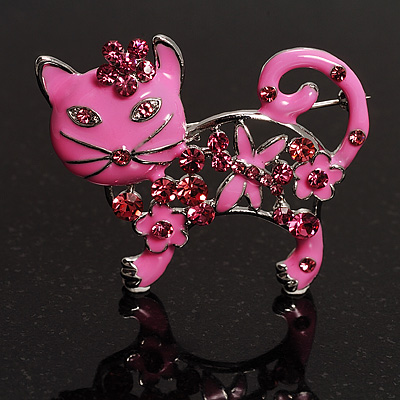 Pink Crystal Enamel Cat Brooch
