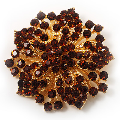 Victorian Corsage Flower Brooch (Amber&amp;Citrine)