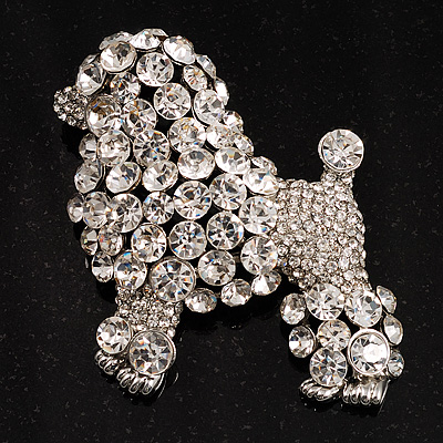 Gigantic Clear Crystal Poodle Dog Brooch