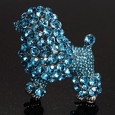 Gigantic Blue Crystal Poodle Dog Brooch