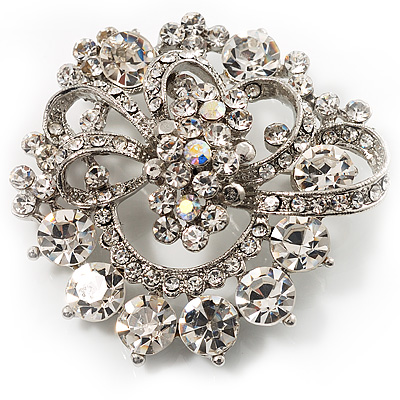 Striking Diamante Corsage Brooch (Ice Clear)