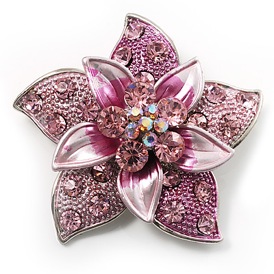 3D Enamel Crystal Flower Brooch (Pink) - main view