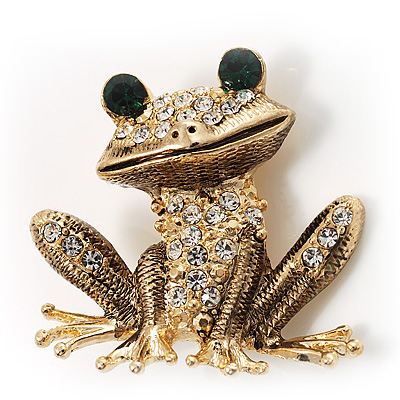 Gold Crystal Frog Brooch