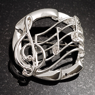 Rhodium Plated Music Treble Clef & Notes Crystal Brooch