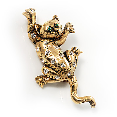&#039;Naughty Cat&#039; Antique Gold Vintage Brooch