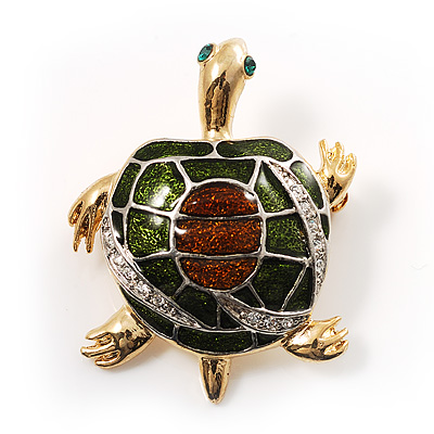 Small Enamel Crystal Turtle Brooch (Green&amp;Brown)