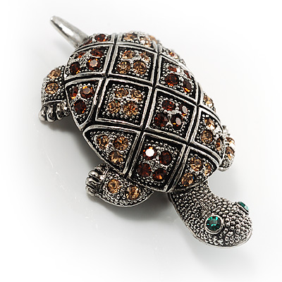 Antique Silver Vintage Turtle Crystal Brooch